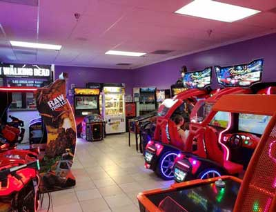 Arcade interior with driving games