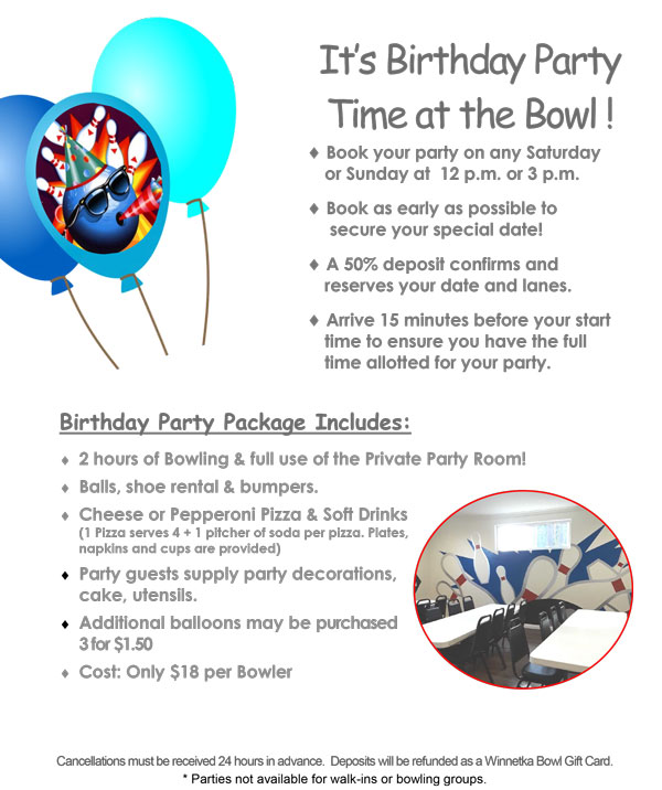 Birthday Parties Parties For Kids Teens Adults At Winnetka Bowl